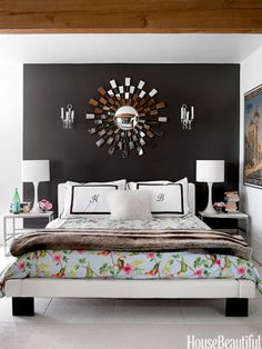Beautiful #bedroom with dark saturated colors.