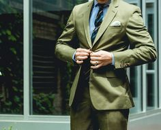 Olive makes for a memorable suit Tie Shoes, Wedding Season, Mens Suits, Sportswear, Custom Suits, How To Memorize Things, Suit Jacket, Menswear, Mens Fashion
