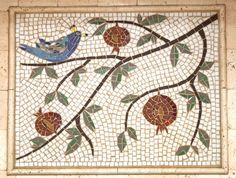 backsplash mosaic bird pomegranite