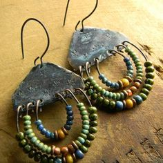 Hammered and stamped copper earrings with colorful beaded loops. The 2016 series of beaded southwestern style jewelry designs from Chrysalis Tribal Jewelry.