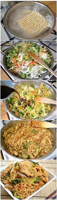 Para un fin de semana relajado con la familia que mejor receta que Chicken Yakisoba: ingredients: ½ head green cabbage 1 medium yellow onion 2 medium carrots 1 small crown broccoli 2 inches fresh ginger 1 large chicken breast 2 Tbsp vegetable oil 2 (3 oz.) packages ramen noodles seasoning packets discarded 1 tsp sesame oil (optional) ¼ cup soy sauce... mmmm deliciosa.