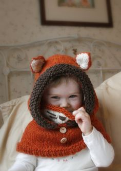 Knit fox hood cowl Rene - PDF knitting pattern - in baby, toddler, child and adult sizes