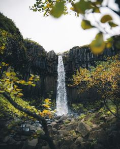 'The Black Falls' - an incredibly beautiful waterfall hidden in the Skaftafell National Park amongst glaciers and volcanoes. Iceland Waterfalls, Beautiful Waterfalls, Volcanoes, Fire And Ice, National Parks, Tours, River, Outdoor, Black
