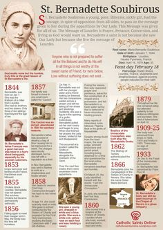-Bernadette is a saint not because she saw Our Lady but because she lived the message of Lourdes. Here's a terrific cheat sheet on St. Catholic Religion, Catholic Quotes, Catholic Prayers, Catholic Saints, Roman Catholic, Catholic Answers, Ste Bernadette, St Bernadette Of Lourdes, St Bernadette Soubirous