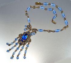 Blue Czech Glass Art Deco Necklace Filigree Flower Rhinestone 1920s Art Deco Jewelry