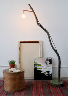 DIY copper + branch floor lamp
