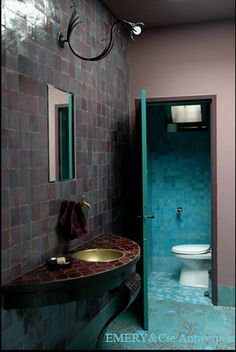 Emery & Cie cement floor & zellige wall tiles are the frontrunner for the master suite bathroom. I adore the fishes & vines! I prefer chakours on the wall of the wet room area, pictured in the following pin: