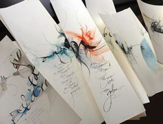 Fine calligraphy gives an individual touch to any present, with which, for example, a bonbonnière, a handmade exercise book or a prayer is made unique.