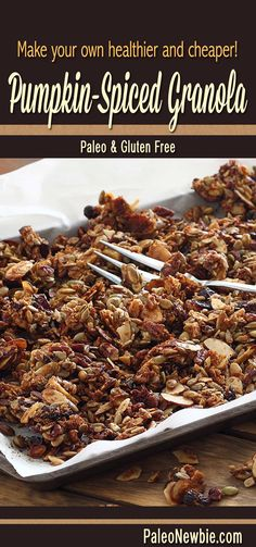 Easy grain-free granola…baked-in wholesomeness sprinkled with pumpkin flavor. Clumpy, crunchy and delicious! #paleo #glutenfree