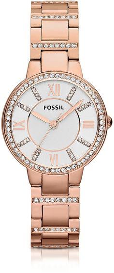 c403d74e64b5 Fossil Virginia Three Hand Rose Golden Stainless Steel Women s Watch
