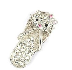 8GB Small Crystal Hello Kitty Slipper Style USB Flash Drive with Necklace