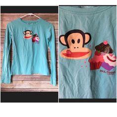 Paul Frank Girls Cupcake Monkey Shirt Long Sleeve Cute Turquoise Sz XL Graphic T  | eBay