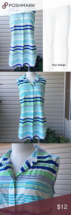 ⭐️Merona Blue & Green Striped Sleeveless Top⭐️ ⭐️Merona Blue & Green Striped Sleeveless Top⭐️ This gorgeous top is a size small and is in excellent Condition! Next day shipping, all sales are final! Pairs great with white skinny jeans. Merona Tops Button Down Shirts