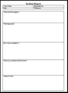 Incident Report Form: Printable Teaching Tool (Pre-K - 12th Grade)