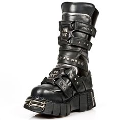 New Rock Leather Devastator Boots! Patent Leather Boots w Studs. They also have 4 Velcro straps to adjust for comfort and also 1 Metal buckle. NOW ONLY $269.99 w Shipping Included! http://www.newrockbootsusa.com/new-rock-devastator-boots.html