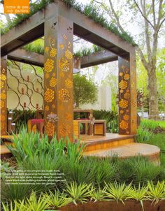Very cool and unique pergola made of cor-ten steel and planted on top.