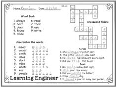 For those of you who are looking for creative and engaging ways for your kids to practice sight words you might want to give word searches, crosswords and word scrambles a try. It is a great way to make learning fun!  Some kids like the challenge of breaking the code with the scrambled words. Others like figuring out which word is missing from the crossword sentence. They all like finding and writing the same word twice on the word searches.