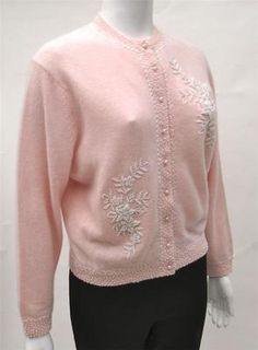 52b1ee5e1ab Vintage 50s 60s Palest Pink Angora Blend Beaded Pin Up Cardigan Sweater L