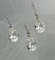 Crystal Pendant Bridal Necklace Bridal Wedding Crystal Drop Bridal necklace Swarovski crystal Bridesmaids jewelry Earrings available. $30.00, via Etsy.