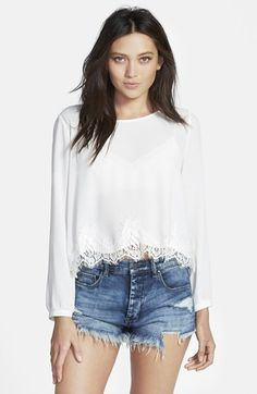 ASTR Lace Hem Long Sleeve Blouse available at #Nordstrom