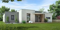Style Pereire (toit plat) Modern Small House Design, Simple House Design, Contemporary House Plans, House Outside Design, House Construction Plan, House Design Pictures, Adobe House, Box Houses, House Paint Exterior