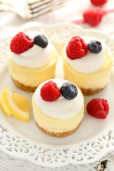 These Mini Lemon Cheesecakes feature an easy homemade graham cracker crust topped with a smooth and creamy lemon cheesecake filling.