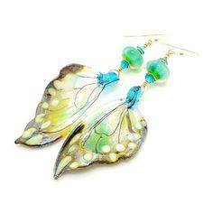 Blue Green Opal Butterfly Wing Earrings ($72) ❤ liked on Polyvore featuring jewelry, earrings, earring jewelry, monarch butterfly earrings, wing earrings, blue green jewelry and opal earrings