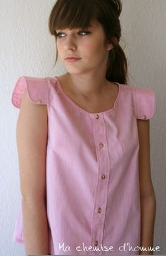 Upcycled man's shirt pink tunic  US 6 / EU 38 by machemisedhomme, €50.00