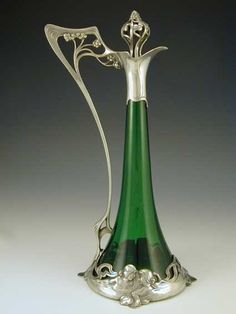 Art Nouveau pewter & green glass claret jug with figural maidens  (Germany, 1906)