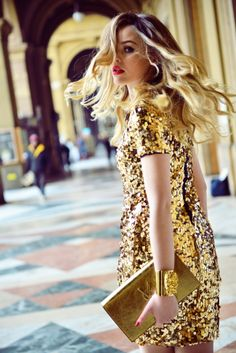 Gold sparkly sequin dress & blonde beauty
