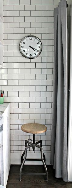 Bathroom Subway Tile Dark Grout floor-to-ceiling subway tile with gray grout is a fitting backdrop