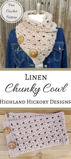 Crochet scarves 214835844711358250 - Linen Chunky Cowl – Highland Hickory Designs – Free Crochet Pattern Source by meekinheriter Crochet Beanie, Crochet Shawl, Crochet Yarn, Free Crochet, Crochet Stitches, Chunky Crochet Hat, Crochet Granny, Crochet Scarves, Crochet Clothes