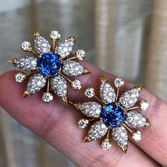 """150 Likes, 1 Comments - Frank Everett (@frankbeverett) on Instagram: """"Exceptionally pretty gold, sapphire and diamond ear clips by #JeanSchlumberger for @tiffanyandco…"""""""