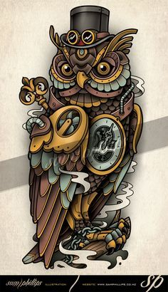 Clockwork / Steampunk Owl Tattoo By Sam Phillips Copyright www.samphillips.co.nz