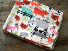 Extra Large Farm Animals Flannel Receiving by yeSweetheart on Etsy