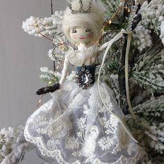 Potting Shed Designs Christmas Fairy, Xmas, Christmas Ornaments, Shed Design, Fairy Dress, Vintage Fabrics, Dress Ideas, Fairies, Swarovski Crystals