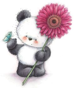 ❤️Panda and Butterfly and Gerbera Daisy