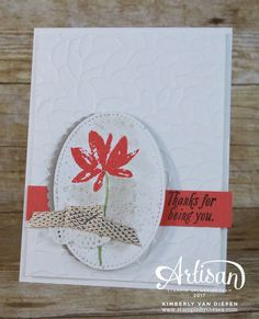 Try Watermelon Wonder ink  on stitched oval,  strip fo cardstock.  Stamp greeting in expresso and embossed whtie card mounted on whie