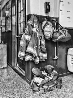 Fireman - Always Ready - Black And White by Paul Ward - Fireman - Always Ready - Black And White Photograph - Fireman - Always Ready - Black And White Fine Art Prints and Posters for Sale