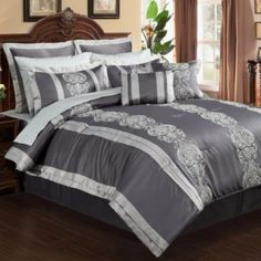 6414d508dea Outfit your bedroom in a sleek and sophisticated style with the Dynasty Comforter  Set. Adorned with beautiful jacquard detailing and light grey pleats