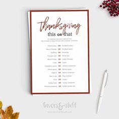 This or That - Thanksgiving Game - Friendsgiving - Would You Rather - Printable - Instant Download - Thanksgiving Friendsgiving Activity