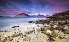 Beach Scene - Mountains, Water, Waves, Rocks - Isle of Skye, UK Art Print by Stay Positive Design - X-Small Scotland Holidays, Skye Scotland, Beach Scenes, Countries Of The World, Beach Photos, Beautiful Beaches, Cool Places To Visit, Beautiful World, Trip Planning