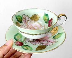 Painted Cups, Hand Painted, Antique Tea Cups, My Cup Of Tea, High Tea, Teacups, Afternoon Tea, Tea Set, Bone China
