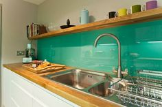 Back Painted Glass Backsplash - DIY Trial Run - Addicted 2 Decorating® Modern Kitchen Backsplash, Glass Kitchen, Backsplash Ideas, Backsplash Design, Beadboard Backsplash, Herringbone Backsplash, Green Kitchen, Hexagon Backsplash, Granite Backsplash
