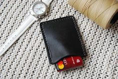 Slim Leather Wallet Card Wallet Veg tan leather Black
