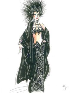 Bob Mackie costume sketch for Broadways The Cher Show 2018 - Academy Awards Cher Cher Oscar, Cher Costume, The Cher Show, Costume Design Sketch, Game Of Thrones Costumes, Cher Bono, Oscar Dresses, Body Adornment, Bob Mackie