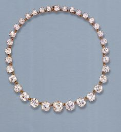 Princess Margaret's Jewellery -- Her grandmother, Queen Mary, bequeathed this stunning string of 34 graduated old-cut diamonds to Princess Margaret. Queen Mary's Diamond Riviere, which became one of Margaret's favourite jewels, had been expected to sell for between £200,000 and £300,000. It went for a staggering £993,600