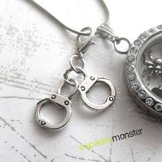 Silver Handcuffs  locket dangles USA by SparkleMonsterSupply