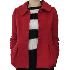-CLOSET FAVORITE- Pleated Pea Coat Beautiful red coat. 3 buttons down the front, belted around the back. Bright red color in a textured fabric. Size medium, modeled on size 4/6. Jackets & Coats Pea Coats