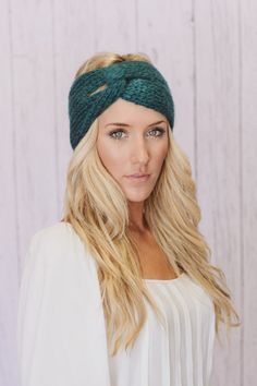 Teal Knitted Turban Headband Ear Warmer Dark Aqua by ThreeBirdNest, $28.00